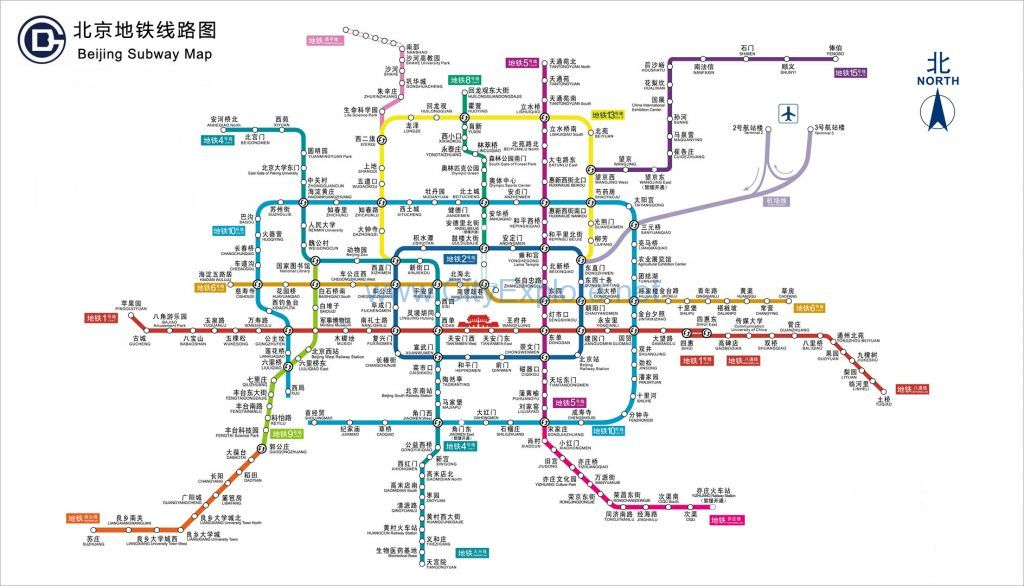 the map of the Beijing subway system