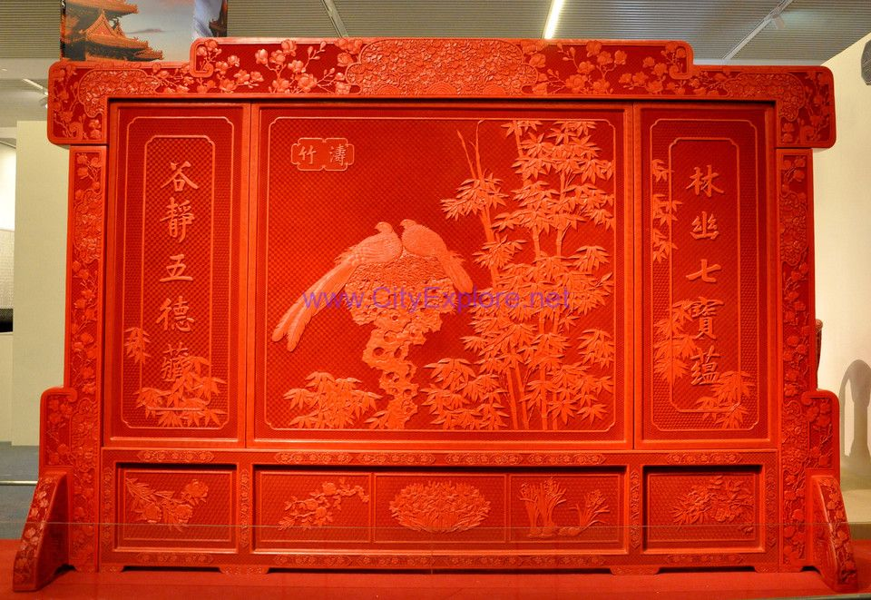 Carved Lacquer Screen(wind blows through bamboo groves)