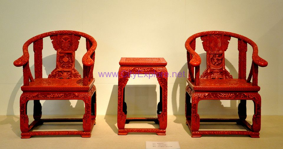 Carved Lacquer Dragon and Phoenix Chair