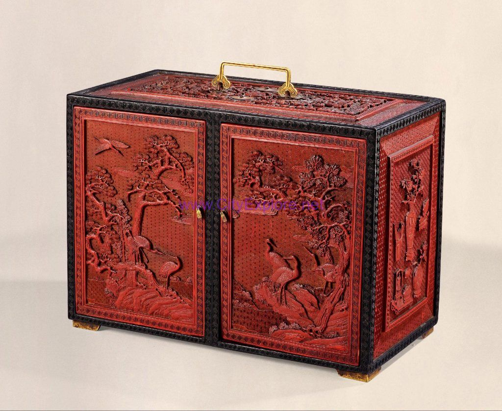 Carved Lacquer Chest(Longevity pines and cranes)