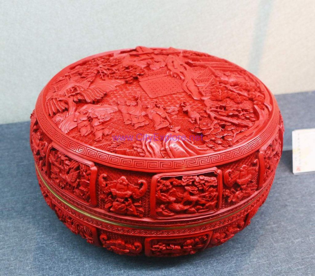 Carved Lacquer Holding Box (A group immortals offer birthday congratulations)