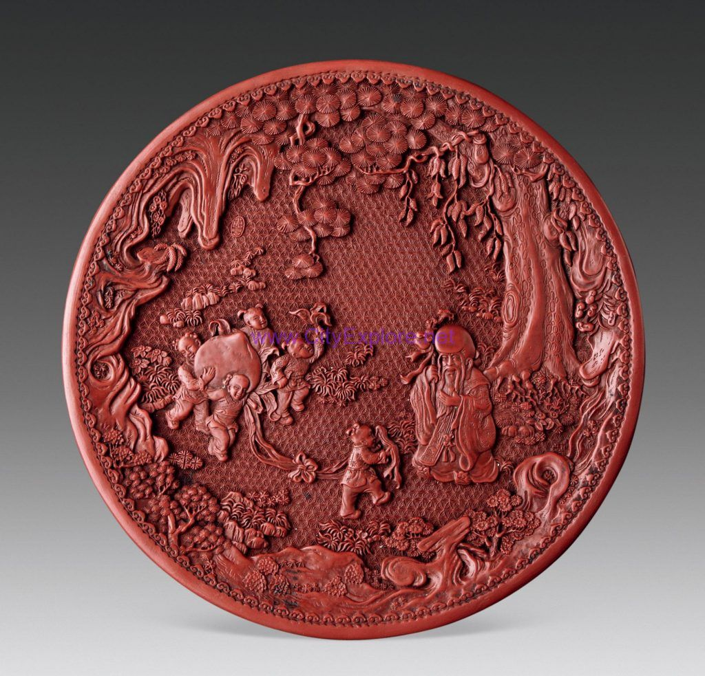 Carved Lacquer Plate