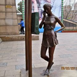"""The Girl on the Phone"" Fashionable Statue, Shanghai"