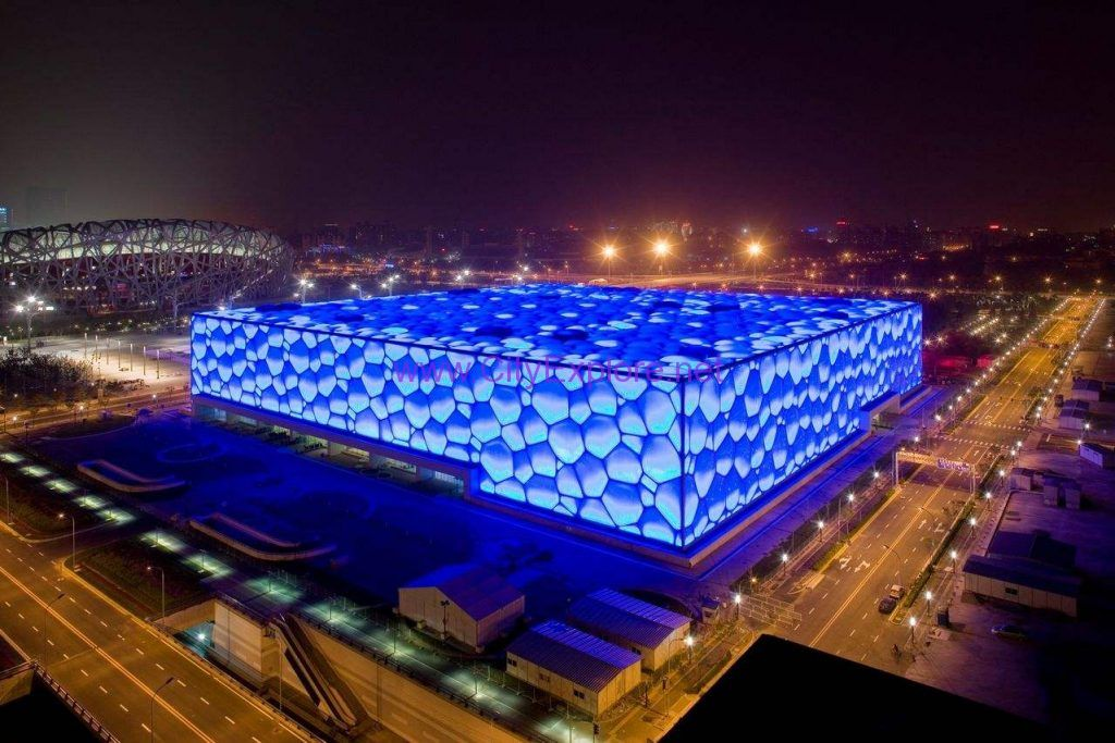 National aquatics center water cube one of the landmark buildings of 2008 beijing for Beijing swimming pool olympics
