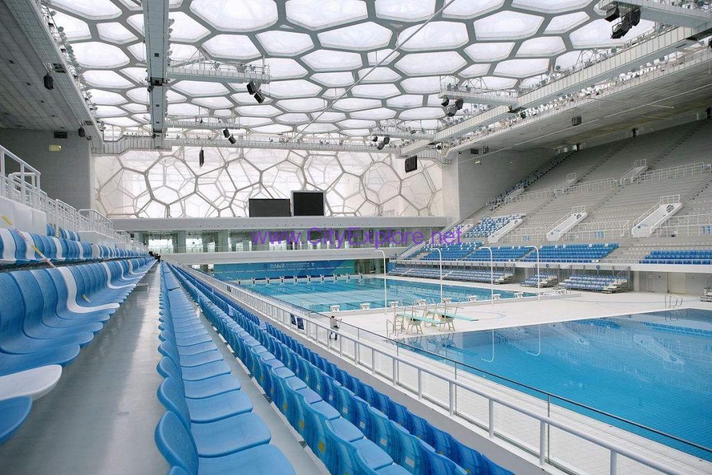 the inside of National Aquatics Center (Water Cube)