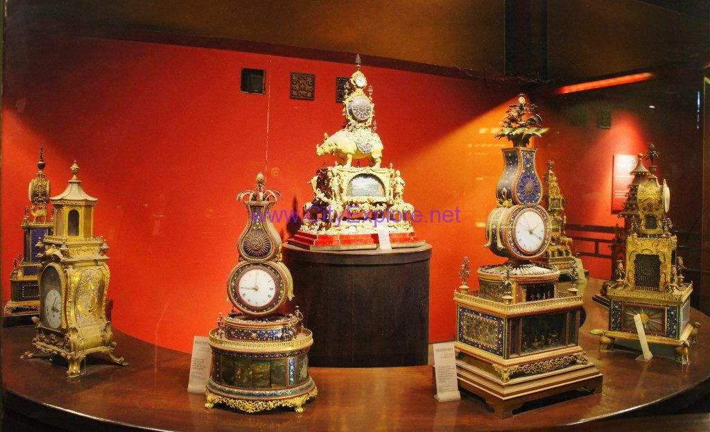 The clocks displayed in the Hall of Clocks