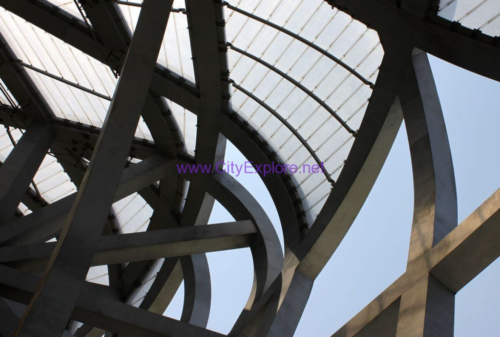 The steel structure of National Stadium's roof