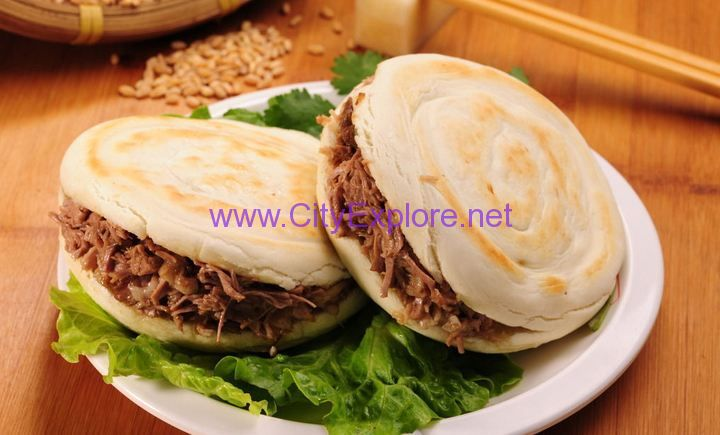 marinated meat in baked bun(Rougamo ) , originated in the Warring States Period